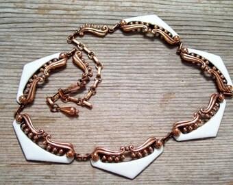 Matisse Necklace, Rare Vintage Matisse VENEZIA Necklace, Vintage Copper Enamel Necklace, Ornate Copper Jewelry, Mid Century Copper
