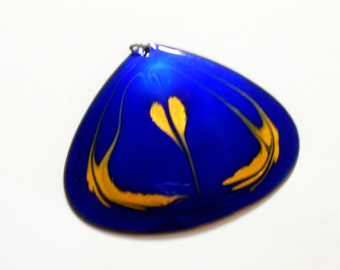 Huge Modernist Abstract Pendant, Rare Vintage MARCA Modernist Abstract Copper Cobalt Blue and Gold Enamel Teardrop Pendant, Marca Jewelry