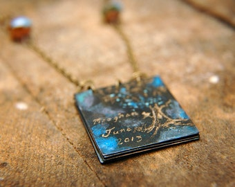 Handwritten Personalized Necklace Patina Engraved Handwriting Journal Tablet  - Custom Message and/or Original Artwork.
