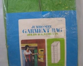 Vintage Avocado Green Jumbo Size Vinyl Garment Bag Closet Hanging Zippered Organizer