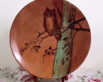 Vintage Owl Plate - Hand Painted Ceramic 1950s - Rustic Farmhouse Decor - Great Horned Owl Decorative Wall Art