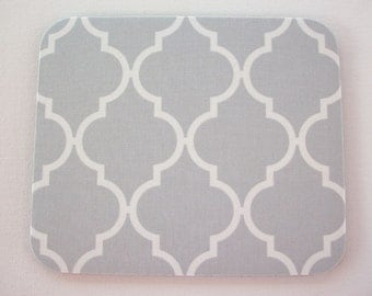 mousepad / Mouse Pad / Mat round  or rectangle - Trellis in gray - coworker gift, desk accessories, cubical decor, teacher gift
