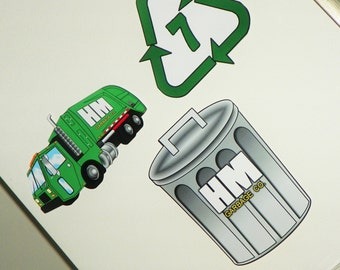 Garbage Truck Wall Decorations.  Garbage Truck Party Decor.  Recycling Truck Hanging Decorations. Kids Trash Birthday Party Set of 3