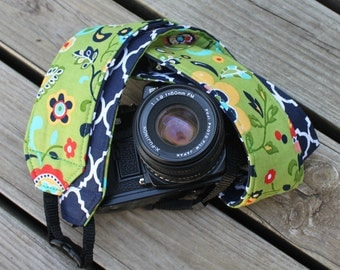 Monogramming Included Extra Long Camera Strap for DSL camera Green Floral Print