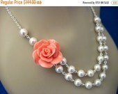 Bridesmaid Jewelry Set of 6 Fashion Rose and Pearl Double Strand Necklaces