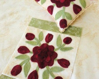 February Antique Quilt Block & Pincushion Pattern by Sunflower Fields Pattern Co. - Wool Applique Pattern
