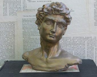Vintage Hand Made Decoline Resin Bust Of David Sculpture Head