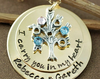 Family Tree Necklace, Hand Stamped Necklace, Tree of LIfe Necklace, Personalized Jewelry, 14kt Gold Filled, I Carry You in my Heart