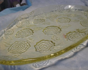 """13 1/2"""" Vintage Art Glass Vanity Tray / Serving Tray Made Italy Yellow Glass & Flower Decoration IVV ART cottage chic retro glassware Large"""