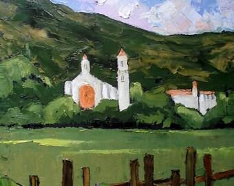 Impressionist Painting Plein Air Landscape Carmel CALIFORNIA Carmelite Monastery Lynne French 16x20