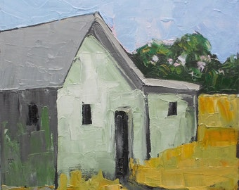 Lynne French Oil Painting Impressionist California Plein Air Country Farm House Landscape  12x12