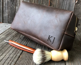 Mens Toiletry Bag - Personalized Dopp Kit - Leather Dopp Kit - Groomsmen Gift - Oil Brown