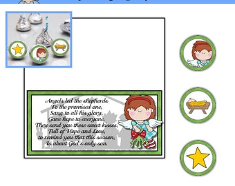Angel Kisses Topper with Religious poem and kiss labels - Digital Printable - Immediate Download