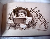 Antique autograph book, burgundy cover gold embossed cover, antique calling cards, Victorian era album, floral album, Victorian autographs