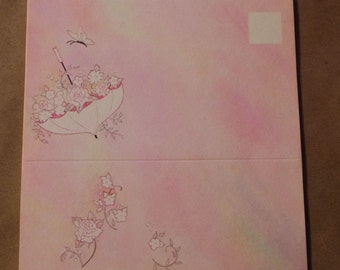 Pink Umbrella and Roses Fold A Note Stationary set