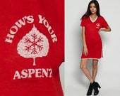 Pajama Dress TShirt Dress 80s Ringer T Shirt HOW'S YOUR ASPEN Night Sleep Nightgown Red Mini V Neck Colorado Retro Vintage Small Medium