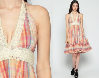 Halter Neck Dress 70s Midi Plaid Print CROCHET LACE Open Back Empire Waist Hippie Boho Sundress Deep V Neck Vintage Sun Ruffle Small xs