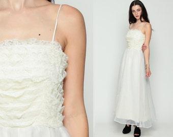 White Lace Dress Bohemian Wedding 70s Boho Maxi High Waisted Party 1970s Vintage Festival Hippie Ruffle Spaghetti Strap Grecian Small