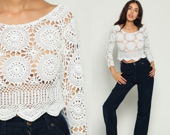 Crochet Top Shirt Crop Top 90s Bohemian SHEER Blouse Knit Sweater Top White Scalloped Vintage Open Weave 80s Boho Long Sleeve Medium