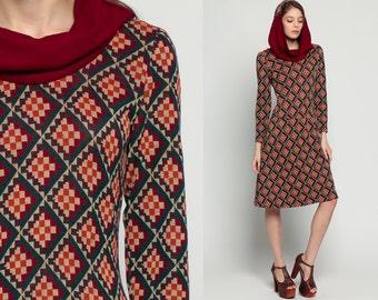 Hooded Dress 70s Midi Dress Mod COWL NECK Geometric Print Hoodie 60s Hippie Shift Boho Vintage 1970s Drop Waist Long Sleeve Extra Small xs