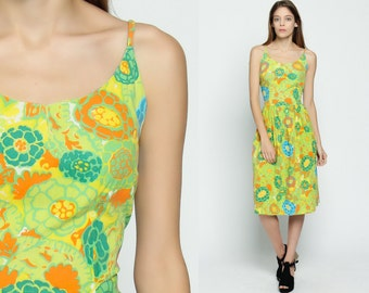 1960s Dress Sundress Floral Print Midi Garden Party 60s Cotton Day Sun Pin Up Lime Green Vintage Full Skirt High Waist Large