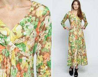 Long Floral Dress 70s Maxi Empire Waist Flower Print Hippie Boho 1970s Vintage Bohemian Deep V Neck Long Sleeve Green Yellow Orange Small