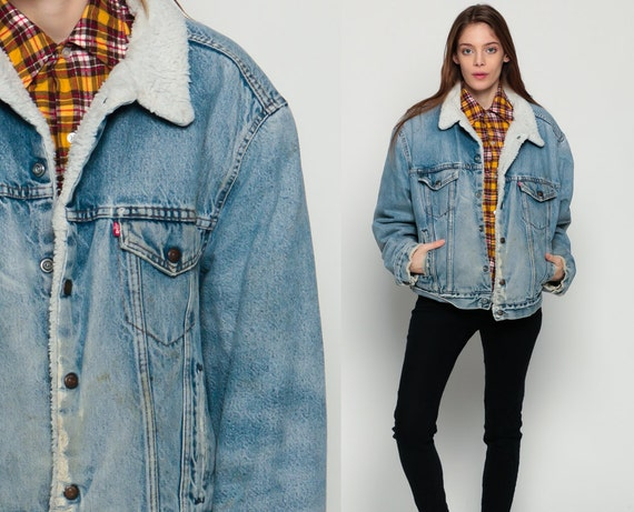 Levis denim veste ann es 80 jean levi faux shearling jacket - Veste annee 80 ...