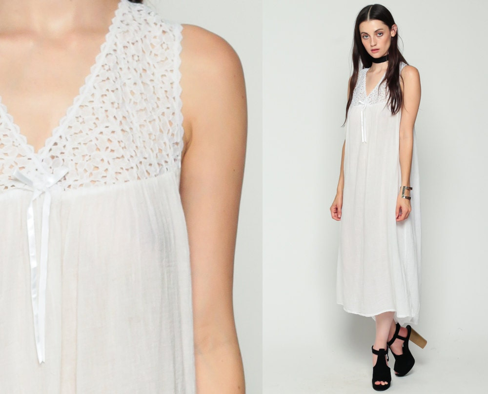 White Nightgown Lingerie Slip Dress 80s Midi Lace COTTON V