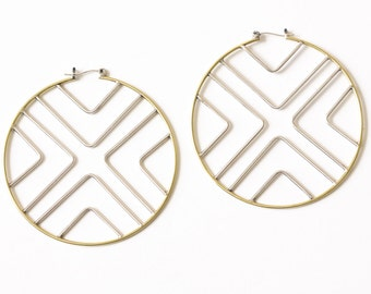Solis earrings - vibrant bold sterling silver and brass large statement boho geometric hoops