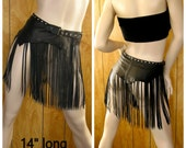 Made to Order, black leather long fringe belt with studs and belt buckle, photos are for reference only, select waist size & length of belt