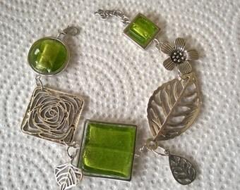 Green jewelry, Green bracelet, Asymmetrical bracelet, Modern bracelet, Leaves bracelet, Green bracelet, Abstract bracelet