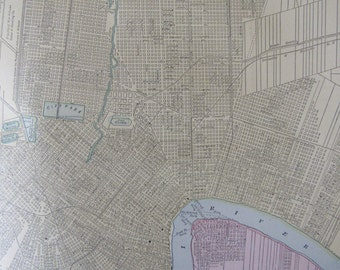 1891 City Map-New Orleans/Atlanta - Antique Atlas Page 2-Sided 11 x 14.5 in Unframed Wall Decor