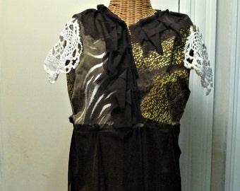 Safari Vest Jacket Medium, Large, XL, 1X Tribal Crochet Vintage Doily Womens by Savoy Faire