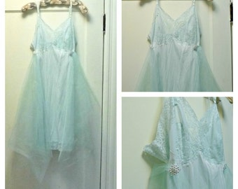"Seaglass Slip Dress XL 40"" Bust Prom, Bridesmaid Wedding Lace Fairytale Fairy Aquamarine Beach Boho by Savoy Faire"