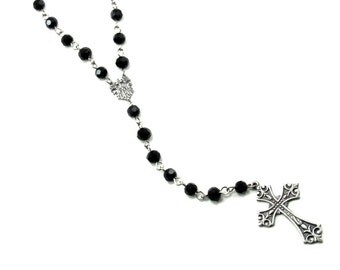 Gothic Rosary Necklace - Lita Rosary - Mourning Rosaries with Sterling Silver Plated Cross and Vintage Connector