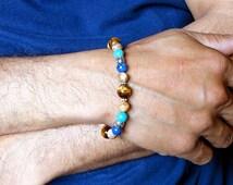 Mens Stone Bracelet, Blue Lapis, Turquoise, Tiger Eye, Jasper, Beaded Bracelet, Handmade Mens Jewelry