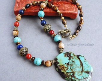 Handmade Necklace - Teal Green Magnesite Blue Lapis Red Jasper Brown Tiger Eye Multi Stones Gold Brass