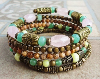 Spring Tone Gemstone Wrap Around Memory Wire Bracelet, Rose Quartz, Green Aventurine, Jasper