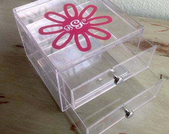 Personalized Clear Two Drawer Vanity Organizer