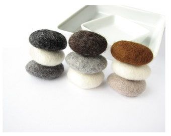 SALE Felted wool stones / pebbles. Natural felted stones, needle felted wool set stones, table home decor, felt ornaments, river rocks