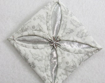 White and Silver Cathedral Window Quilted Christmas Ornament 147