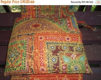 70% OFF CLEARANCE 60s Burnt Orange Calico Chair Pad & Pillow