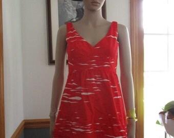 Womens Sundress-Malia Honolulu/Hawaiian Coral Red & White with Dark Red Splash- Swirl Mod-Print Sleeveless-Vintage Womens Dress