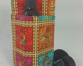 Massage Therapy single bottle hip holster, Kokopeli print, black belt