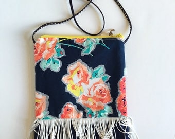 Little Girls Purse navy with flowers coral teal and fringe