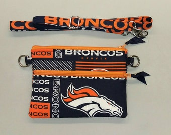 "Denver Broncos NFL stadium size 4.5"" x 6.5"" cross body purse"