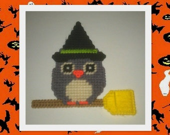 Handmade Witch Owl Magnets...Plastic Canvas