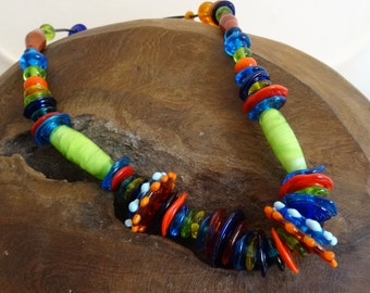 Handmade Necklace with Lampwork beads OOAK