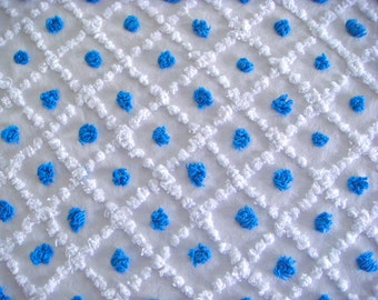 Royal Blue Candlewick Pops & White LatticeVintage Chenille Bedspread Fabric 12 x 24 Inches
