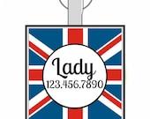 Union Jack British Custom Personalized Dog ID Pet Tag Custom Pet Tag You Choose Tag Size & Colors